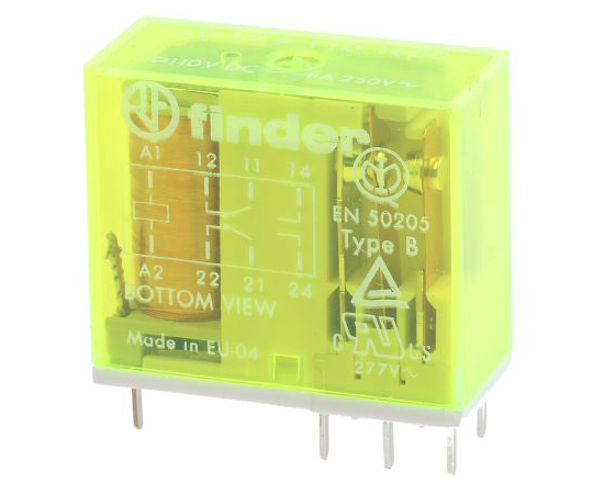 Finder50 Series DPDT Non-Latching Relay PCB Mount, 110V dc Coil, 8A 50.12.9.110.1000