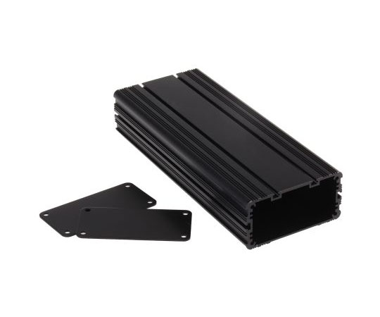 アルミケース 200 x 81.4 x 40mm 黒  468-7140