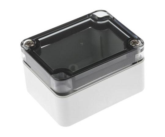 プラスチックボックス ポリカーボネイト 65 x 50 x 35mm グレー,透明  13047501