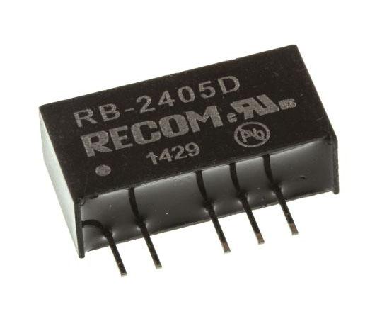 絶縁DC-DCコンバータ Vout:±5V dc 21.6 → 26.4 V dc 1W 24 V dc  RB-2405D