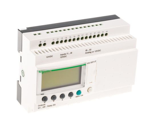 ロジックモジュール ディスプレイ付き リレー 8 x Output 12 V dc Zelio Logic  SR2B201JD