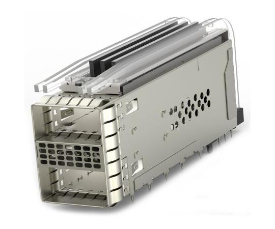ケージアセンブリ ZQSFPシリーズ 38極 メス ストレート 2ポート With Light Pipe  2299940-5