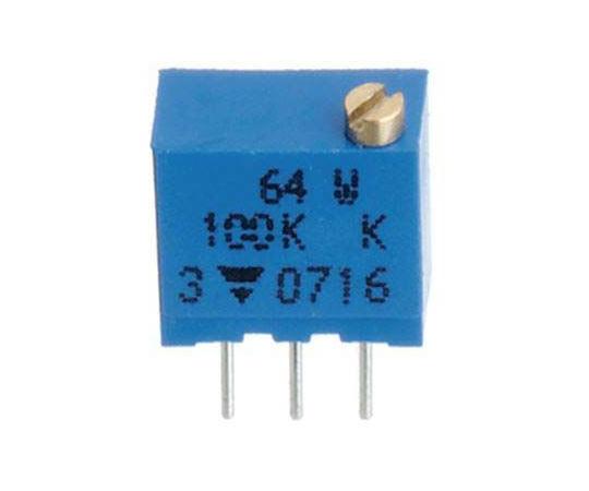 半固定抵抗器 100Ω 0.25 W @ 85 °C 上面調整 12 スルーホール  64WR100LF