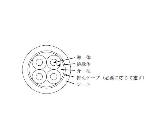 [取扱停止]600V 架橋ポリエチレン絶縁ビニルシース電力ケーブル 10m/巻  600V CV 2SQX4C