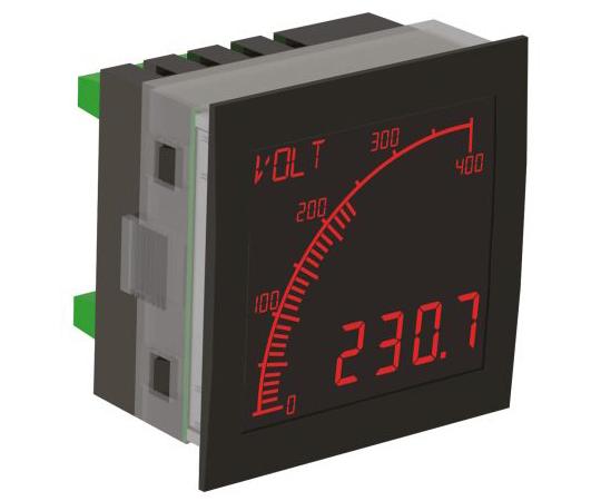 電圧測定用デジタルパネルメータ 4桁 LCD 68 x 68 mm  APM-VOLT-ANO