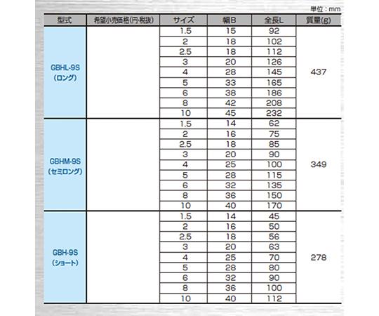 ボールポイント六角棒レンチ  GBH-9S