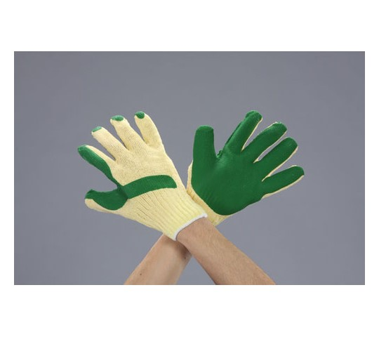 手袋(ナイロン・ポリエステル・天然ゴム張り/緑) [フリー] EA354AB-21