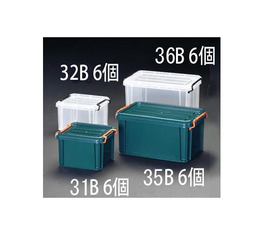 [取扱停止]345×205×165mm収納ケース(バックル付/グリーン/6個) EA506AB-35B