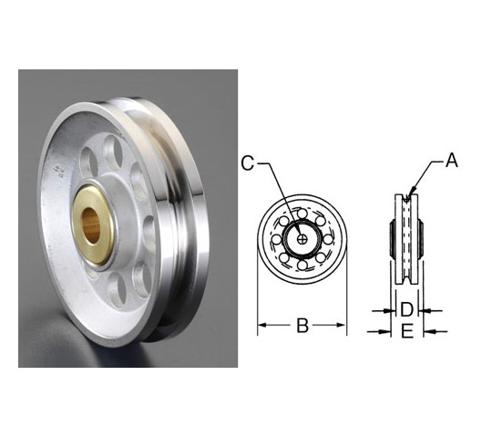 14.2×12.7×108mmロープシーブ(ステンレス製)