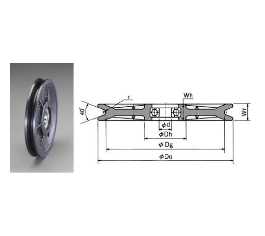 [取扱停止]183×24×20mmロープシーブ(MC-Eナイロン)
