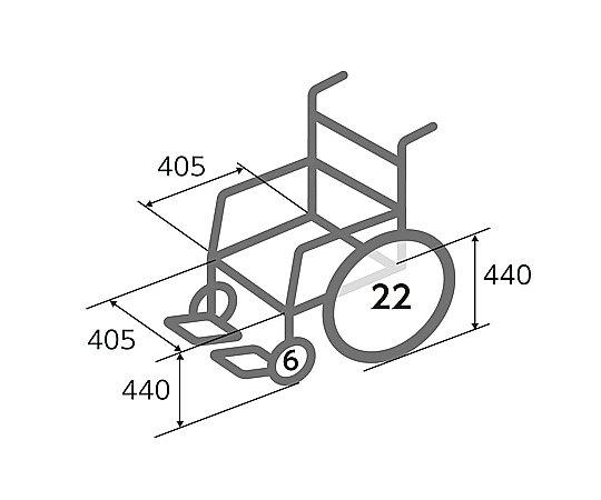 車椅子 (自走式/スチール製/背面ポケット付き)
