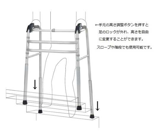多機能歩行器(折りたたみ式) 560×420×750~1000 PW800-212