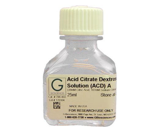 ACD (Acid Citrate Dextrose) Solution A  (38mM citric acid, 107mM sodium citrate, 136mM dextrose), 25mL 786-493