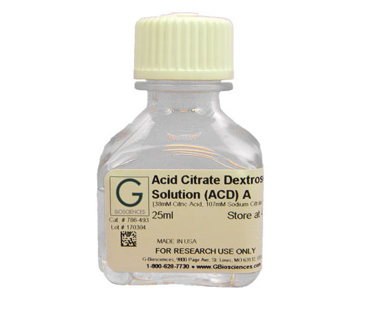 ACD (Acid Citrate Dextrose) Solution A  (38mM citric acid, 107mM sodium citrate, 136mM dextrose), 100mL 786-820