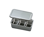 Stainless Steel Tray with Lid (Including Pcs Of Inner Tray) 105 x 68 x 59mm and others