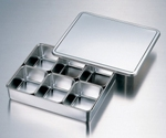 Stainless Steel Tray with Lid (Including Pcs Of Inner Tray) 137 x 106 x 61mm and others