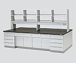 中央実験台 木製タイプ・ケコミ型・試薬棚付き SAOD