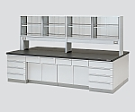 [Discontinued]Central Laboratory Bench Wooden Type, Riser Type, with Reagent Shelf 1800 x 1200 x 800/1800 and others