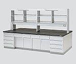 中央実験台 木製タイプ・ケコミ型・試薬棚付き SAOF