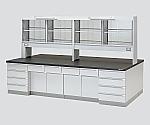 中央実験台 木製タイプ・ケコミ型・試薬棚付き SAOG