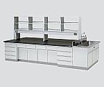 中央実験台 木製タイプ・ケコミ型・側面流し台・試薬棚付き SAOH