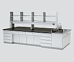 [Discontinued]Central Laboratory Bench Wooden Type, Riser Type, Side Sink, with Reagent Shelf 2400 x 1200 x 800/1800 and others