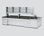 中央実験台 木製タイプ・ケコミ型・側面流し台・試薬棚付き SAOI