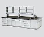 中央実験台 木製タイプ・ケコミ型・側面流し台・試薬棚付き 2400×1200×800/1870等
