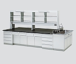 [Discontinued]Central Laboratory Bench Wooden Type, Riser Type, Side Sink, with Reagent Shelf 2400 x 1200 x 800/1870 and others