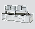 中央実験台 木製タイプ・ケコミ型・側面流し台・試薬棚付き