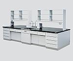 中央実験台 木製タイプ・ケコミ型・対面流し台・試薬棚付き 2400×1200×800/1800等