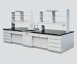 中央実験台 木製タイプ・ケコミ型・対面流し台・試薬棚付き SAON