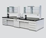 中央実験台 木製タイプ・ケコミ型・対面流し台・試薬棚付き 2400×1200×800/1870等
