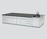 中央実験台 木製タイプ・フラット型・側面流し台付き SBOB