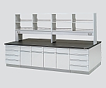 中央実験台 木製タイプ・フラット型・試薬棚付き SBOD