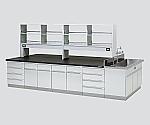 中央実験台 木製タイプ・フラット型・側面流し台・試薬棚付き SBOH