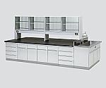 中央実験台 木製タイプ・フラット型・側面流し台・試薬棚付き SBOI