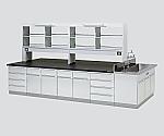 中央実験台 木製タイプ・フラット型・側面流し台・試薬棚付き SBOJ