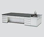 中央実験台 木製タイプ・デスク型・側面流し台付き