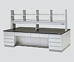 中央実験台 木製タイプ・デスク型・試薬棚付き SGOD