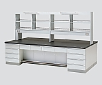 中央実験台 木製タイプ・デスク型・試薬棚付き SGOF