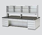 中央実験台 木製タイプ・デスク型・試薬棚付き SGOG