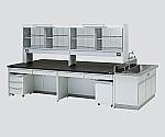 中央実験台 引出し付き・ユニット付きフレーム型・側面流し台・試薬棚付き