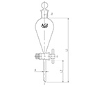 Squibb Type Separatory Funnel PTFE Cock 30mL and others