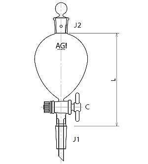 球形摺付分液ロート PTFEコック