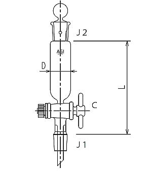 セミ・ミクロ 円筒形摺付分液ロート PTFEコック