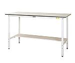 ワークテーブル150シリーズ 高さ調整タイプH900~H1200mm 半面棚板付/全面棚板付等