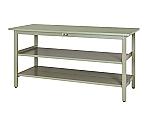 ワークテーブル300シリーズ 固定式中間棚付 H900mm 全面棚板付 スチール天板等