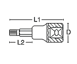 ロングヘクスローブビットソケット 3/8DR
