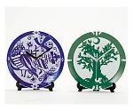 [取扱停止]陶芸スクラッチ時計皿 緑 27106